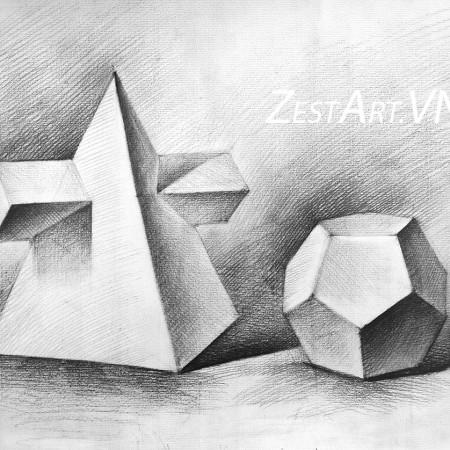 khóa học vẽ căn bản hình họa,Khối cơ bản trong hội họa, mỹ thuật cơ bản, học vẽ cơ bản