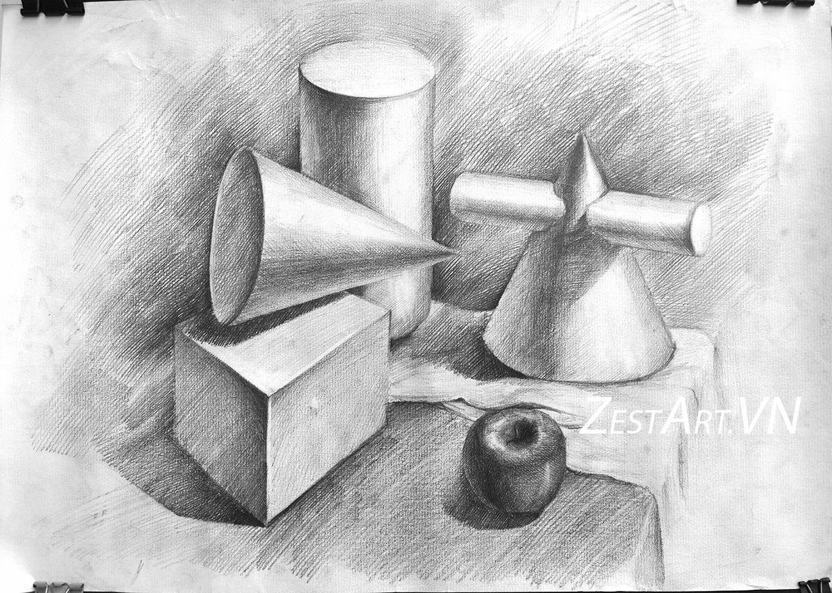 học vẽ cơ bản tphcm, mỹ thuật căn bản, cơ bản hội họa, hình họa căn bản
