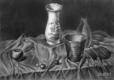 Bài vẽ tĩnh vật chì, ôn thi Tôn Đức Thắng