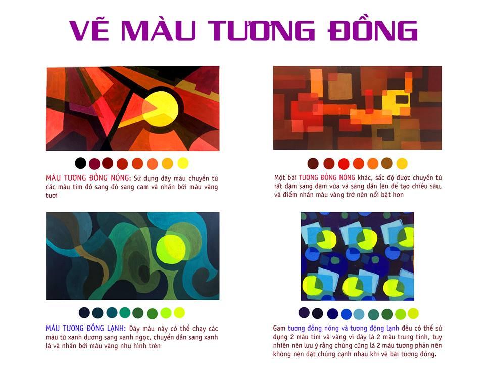 Lý thuyết ví dụ vẽ màu tương đồng trong trang trí màu