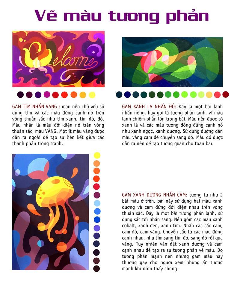 Một số lý thuyết vẽ trang trí màu tương phản thực hiện bời Zest Art