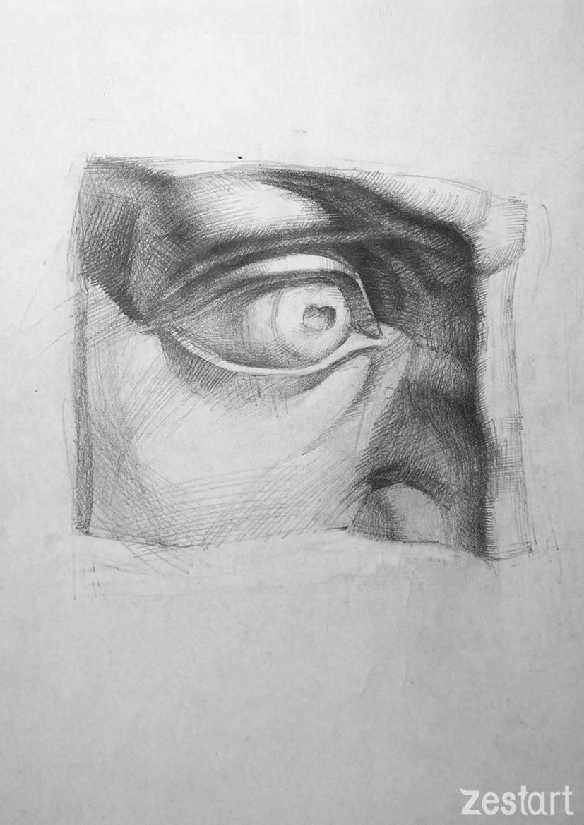 vẽ mắt tượng thạch cao