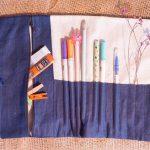 túi đựng cọ vẽ bằng vải thêu tay