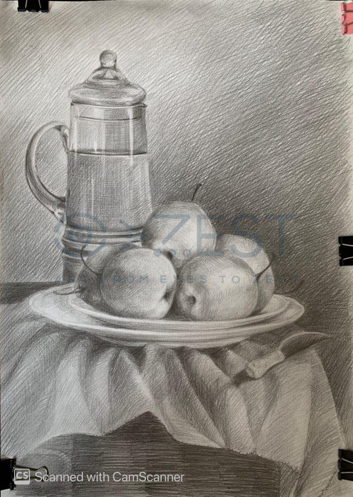 bài vẽ tĩnh vật của học viên học vẽ online lớp luyện thi