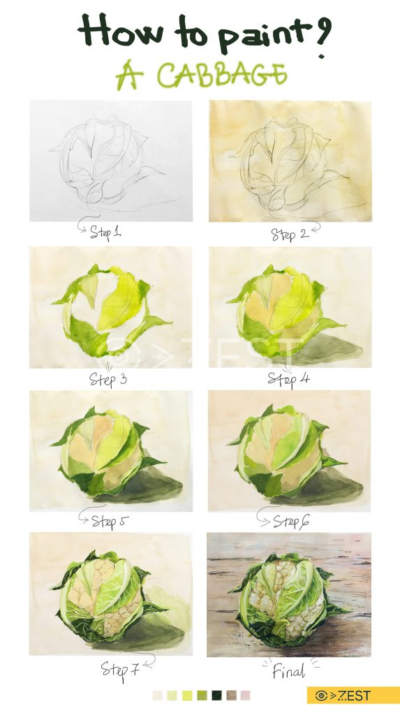 Vẽ bông cải trắng bằng màu poster