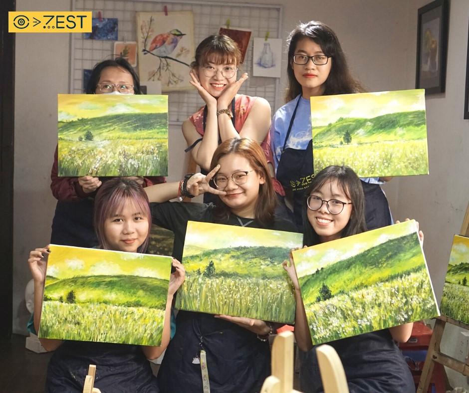 khóa học vẽ phong cảnh bằng màu acrylic 4 buổi