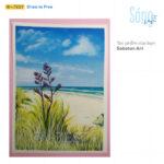 Tranh vẽ bờ biển bằng màu poster